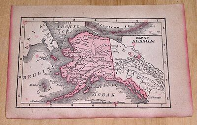 "1900 ANTIQUE TINY 5"" x 3.5"" MAP OF ALASKA YUKON CANADA"