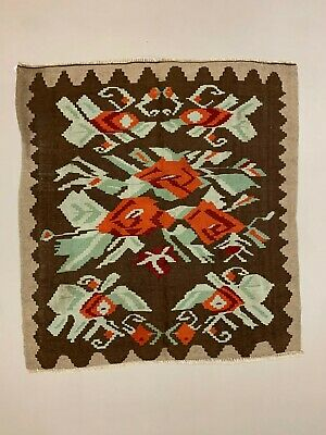 Vintage Turkish Square Kilim 165x150 cm Kelim Wool Rug Medium