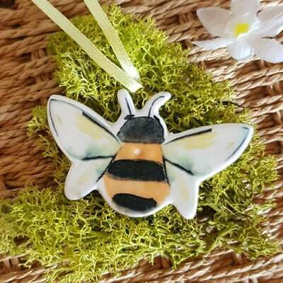 Ceramic Bee Easter tree yellow/black decoration by Gisela Graham