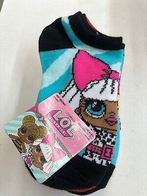 New! 5 Pairs Girls LOL Suprise Doll No Show Socks Size 6-8.5 Shoe Size 7.5-3.5