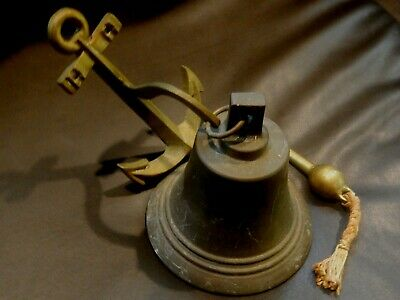 """6"""" Solid Brass SHIPS BELL Vintage with ANCHOR BRACKET NAUTICAL Marine NAVIGATION"""