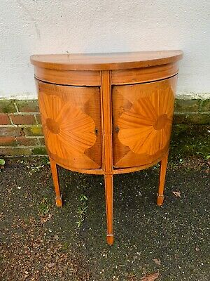 A 19th Century Sheraton Revival Satinwood Demi Lune Side Cabinet