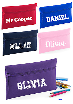 Personalised Childs Pencil Case Kids Office Stationery Zip Boy Girl School Bag