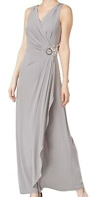 Calvin Klein Womens Gown Gray Size 2 Faux-Wrap Gathered Brochet $199- 368