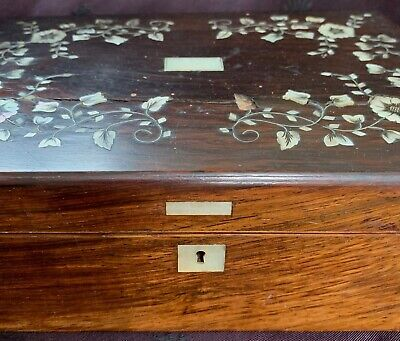 "antique sewing box w compartments, wood inlaid w MOP, 9x6x3.5"" w lots of notions"