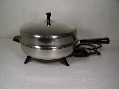 "Farberware Electric Frypan Stainless Steel 12"" Skillet Dome Lid ~ USA Vintage"