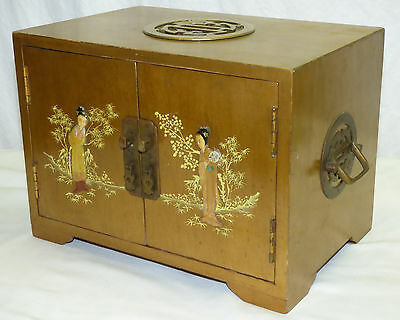 Old Asian Japanese Jewelry Box Painted Gold w/ Geishas & Brass 4 Drawers Chinese