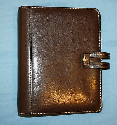 "Chocolate Brown Classic  7-1.25"" ring Sim. Leather Franklin Covey Planner Binder"