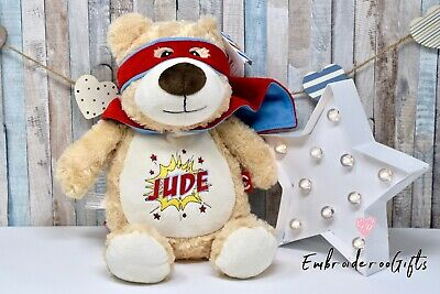Personalised Embroidered Cubbie Hero Bear Teddy Children Baby Gift