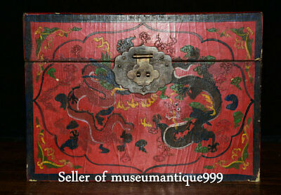 "10"" Qianlong Marked Old China lacquerware Qing Dynasty Double Dragon Box cabinet"