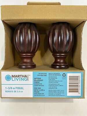 Martha Stewart Living 1-3/8 in. Wood Pair of Finials in Antique Mahogany Finish