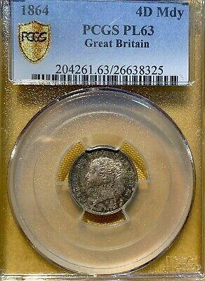 GREAT BRITAIN 4 Pence 1864 Prooflike - Silver - Victoria - PCGS:PL63