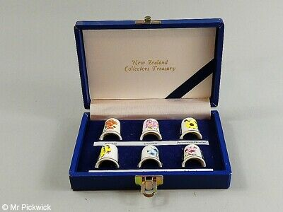 New Zealand Collectors Treasury Set of 6 Thimbles in Display Box