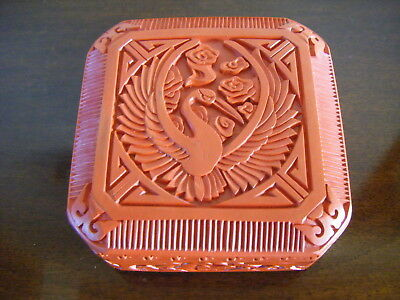 Vintage Chinese Carved Cinnabar Lacquer Box with Phoenix Bird