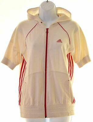 ADIDAS Girls Hoodie Sweater Short Sleeve 15-16 Years White Cotton  MK24