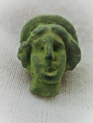 Circa 200 - 300 Ad Ancient Roman Bronze Statue Fragment Head Of Diana