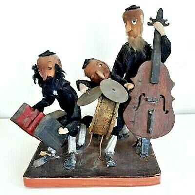 Vintage Orchestra Israeli Group Hand-made Figurine Statue Wood, Fabric & Brass
