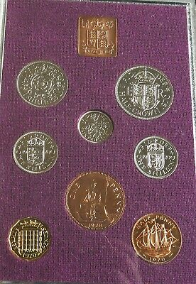 Uk -  8 X Coin Pre Decimal Proof Set Boxed 1970
