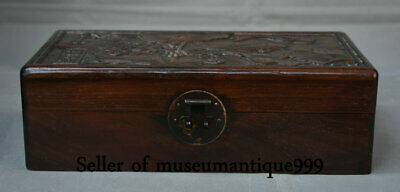 """12"""" Ancient China Old Wood Dynasty Carved Lotus Fish jewelry Box cabinet casket"""