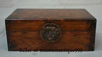 """10.8"""" Ancient China Huanghuali Wood Dynasty Hand Carved jewelry Box cabinet"""