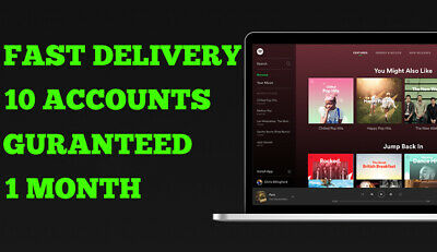 ✅ Spotify 10 accounts 1 Month Premium new Subscription GUARANTED FAST DELIVERY