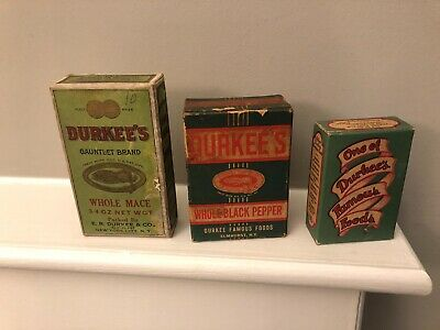 Vintage Kitchen Spice Boxes Durkee Lot of 3