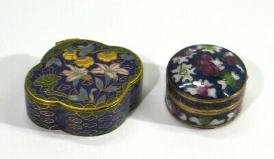Two Vintage Chinese Cloisonne Enamelled Pill Boxes.