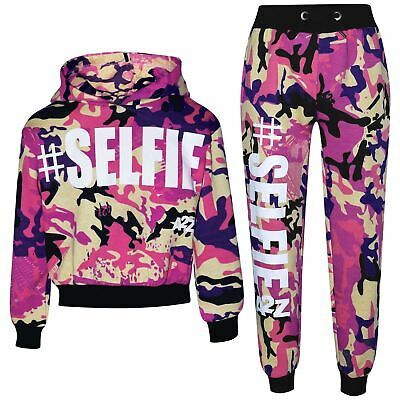 Kids Girls Tracksuit #Selfie Baby Pink Hooded Crop Top Bottom Jog Suit 5-13 Year