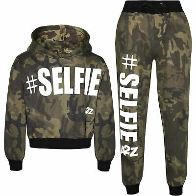 Kids Girls Track Suit #Selfie Camouflage Green Hooded Crop Top Bottom Jog Suits