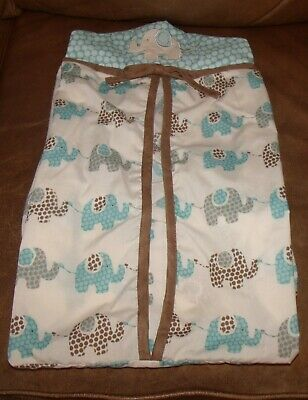 summersault boys elephants diaper stacker blue and brown