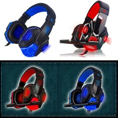 Pro 3.5mm Gaming Headset Mic LED Headphones Stereo Surround for PS4 Xbox ONE fun
