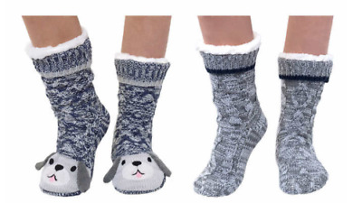 Jane And Bleecker Womens Chunky Slipper Socks 2-Pack Pair Dog Grey NWT Bin17