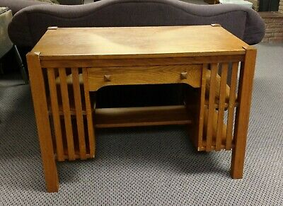 Mission Arts & Crafts (Stickley Style) Library Table Desk Solid Oak Early 1900's
