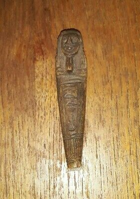 Hieroglyphic Anubis Bead Egypt Antique Mummy Coffin Figure Antiques Carved Stone