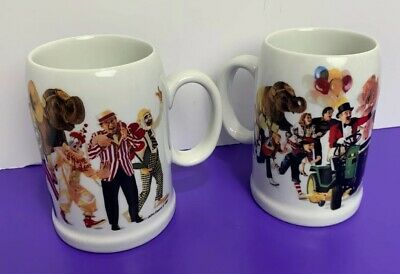John Deere Lawn Mower Circus Ringmaster Crowd Parade Coffee Mug Cup Set of 2
