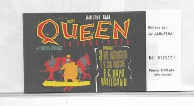 Entrada Concierto Queen Estadio Rayo Vallecano año 1986 facsímil (EX-141)