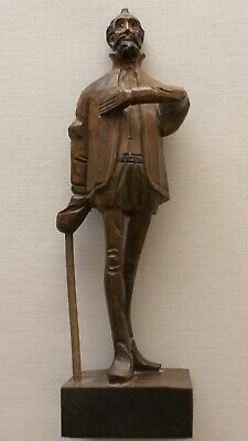 "Don Quixote Ouro Artesania Spain Spanish Wooden Hand Carved 8"" Figurine Statue"