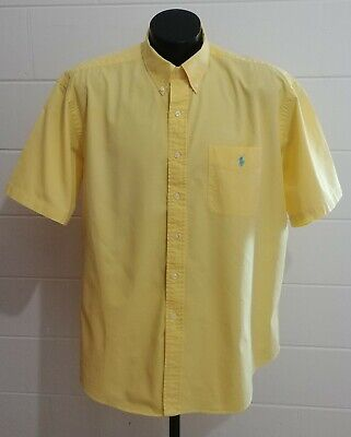 "Ralph Lauren ""Blake"" Mens XL Yellow S/S Button Down Shirt Polo Pony Pocket EUC !"