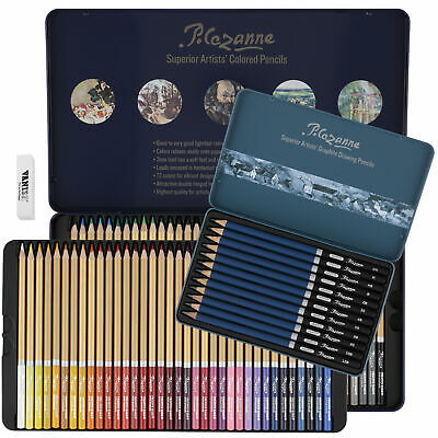 Cezanne 85 Piece Graphite & Colored Pencil Drawing & Sketch Set, Complete