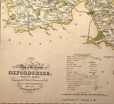 Large Map of OXFORDSHIRE towns, gentleman houses election poll reform bill c1833