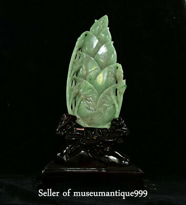 """16.4"""" Chinese emerald jadeite Green Jade Hand Carved bamboo shoots Sculpture"""