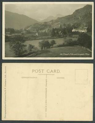 Chapel Stiles and Langdale Pikes, Lake District, Cumbria Old Real Photo Postcard