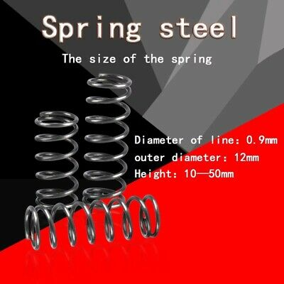 2pc Compression 65mn Steel Spring 0.9mm Wire Diameter,12mm Diameter X30mm Length