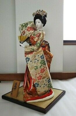 "Japanese Geisha doll holding fun in Kimono 17"" on wooden base Antique from Japan"