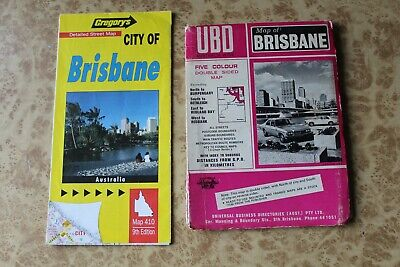 2x Vintage Map Of Brisbane Foldout Road Map UBD Gregorys 1960s 70s 90s