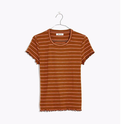 MADEWELL BROWN MULTICOLOR STRIPED SHORT SLEEVE STRIPED COMFY BABY TEE TOP Sz XL