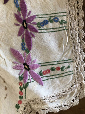 Vintage  Hand Embroidered Tablecloth,Really Unusual Design.