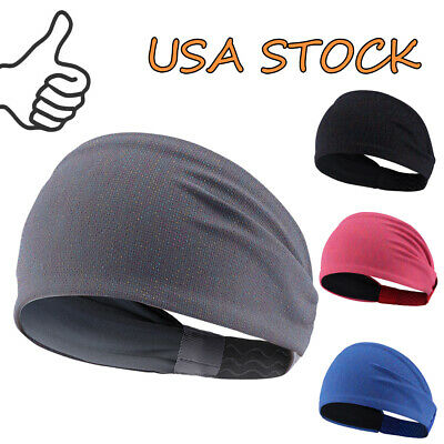 Wide Headband Nonslip Silicone Grippy Stretchy Moisture Wicking Sports Sweatband