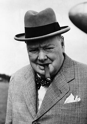 Art print poster / Canvas Winston Churchill with Cigar