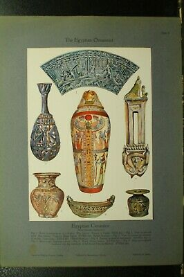 100+ year old antique vintage color print ancient Egyptian Ceramics Tunah vase